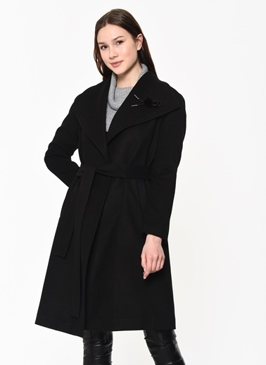 Dewberry Polyesterli Kadın Palto Siyah